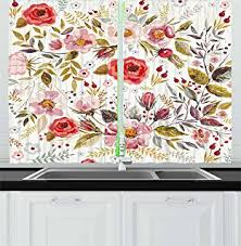 Curtains Birds Theme Luxurious Shabby Cotton Blend Flowers Birds 3 Pc