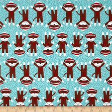 critter club sock monkey blue discount designer fabric fabric com