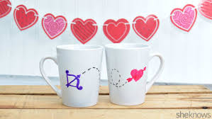 his mugs make a sweet pair of painted mugs for you and your