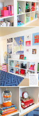 colorful playroom with white furniture styling bookshelves kid