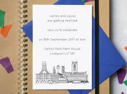 wedding invitations liverpool liverpool skyline wedding invites liverpool wedding postcard