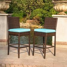 Patio Chairs With Cushions Pcs All Weather Patio Furniture Brown Wicker Barstool With Cushions
