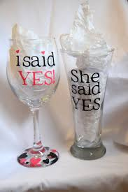 appropriate engagement party gifts i said yes she said yes engagement glasses by moreshenanigans