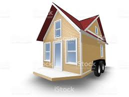 3d rendered illustration of a tiny home over white stock vector
