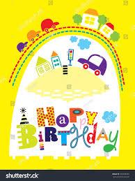 happy birthday card cars houses editable stock vector 237238429