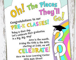 oh the places you ll go graduation oh the places you ll go graduation invitation preschool graduation