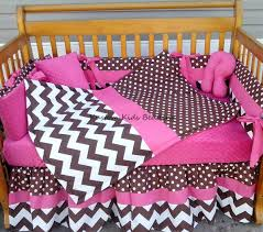 Pink Chevron Crib Bedding Brown White Polka Dot Chevron W Pink Crib Bedding Set