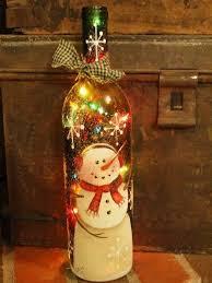 lights made out of wine bottles snowman lighted bottle homemade night lights pinterest snowman