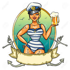 label with pin up sailor and ribbon design royalty free