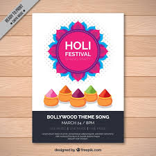 festival brochure template holi festival brochure template with colored elements vector