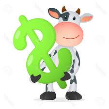 unique funny cartoon cow stock vector money design