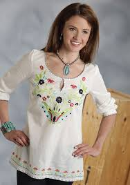 womens cotton blouses roper s embroidered cotton peasant blouse