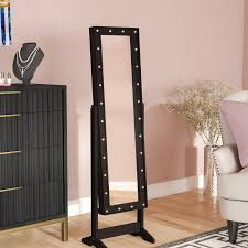 jewlery armoire mirror everly quinn lorna free standing jewelry armoire with mirror