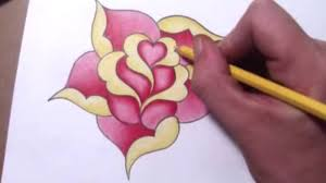 design flower rose drawing how to draw a simple rose design with a heart youtube