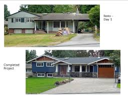 before and after photos renovation of 1960 s split level rancher house