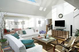 shabby chic sofa living room beach with branches cable railing