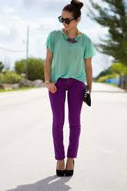 Mint Colored Skinny Jeans Purple Skinny Jeans And Mint Green Top With Purple Accessories