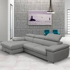 Leather Chaise Sofa Nicoletti Lipari Grey Italian Leather Sofa Chaise Left Facing
