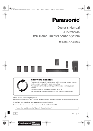 panasonic home theater manual panasonic sc xh105 user manual 20 pages
