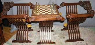 Savanarola Chair Italian Games Table U0026 Savonarola Chairs 2