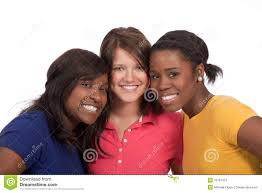 group of beautiful young ladies on white stock photos image