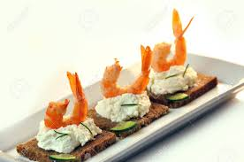 rye bread canapes canapes rye bread with ricotta cheese and shrimps stock photo