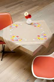 Coffee Table Cloth by Vervaco Cross Stitch Embroidery Interior Table Cloth Flowers