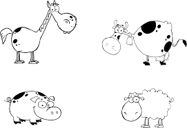 printable page of a farm animals cartoon characters set for kids
