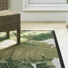 Indoor Outdoor Area Rugs Beachcrest Home Maren Palm Lily Hunter Green Ivory Indoor Outdoor