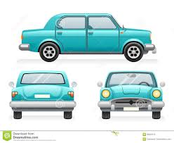 teal car clipart front back side point view retro car icons set design transport