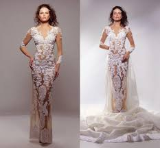 Lace Wedding Dresses 2016 Sheer Lace Wedding Dresses V Neck Fitted Illusion Tulle See