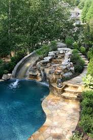 Backyard Pool With Lazy River This Swimming Pool With Slide And Waterfall Would Look Amazing In
