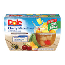 dole fruit bowls dole fruit bowls cherry mixed fruit in light syrup 4 oz cup 4pk