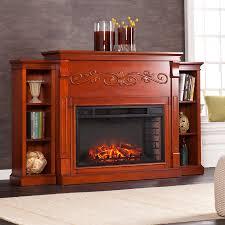 mahogany corner bookcase locksley bookcase electric fireplace classic mahogany