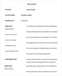 Chef Job Description Resume by Head Waiter Job Description Resume 2140