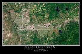 Map Of Spokane Washington Greater Spokane Washington From Space Satellite Poster Map 12 X 18