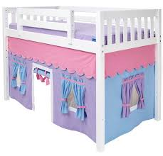 Purple Bunk Beds Maxtrix Purple Light Blue Curtain For Mid Height Loft Bed