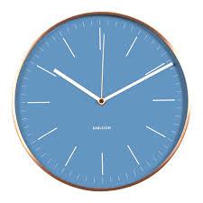 karlsson copper wall clock watch blue the design gift shop