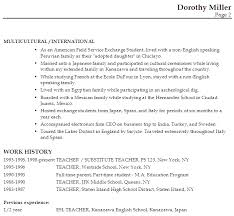 Resume Work Experience Examples For Students by Resume For An Esl Teacher Susan Ireland Resumes