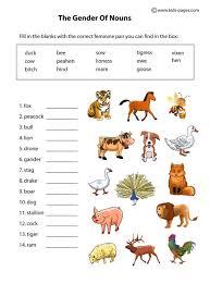 nouns gender animals worksheet