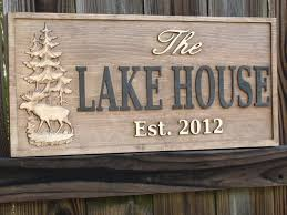 Lake House Ideas Personalized Carved Cabin Sign Rustic Lake House Sign Good