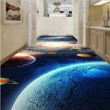Decorative Floor Painting Ideas 3d Blue Sea Wave Pattern Pvc Non Slip Waterproof Eco Friendly Self