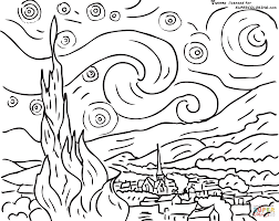 starry night by vincent van gogh coloring page supercoloring com