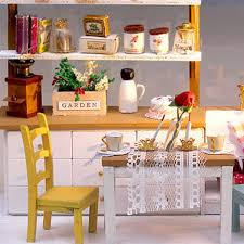 hoomeda diy wooden dollhouse miniature dining room model kit with