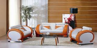 TwoToned Orange And White Leather Contemporary Sofa Living Room - Orange living room set