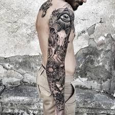 tattoo eye of providence bull skull sleeve tattoo blackwork