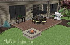 diy rectangular patio design with seating wall 320 sq ft