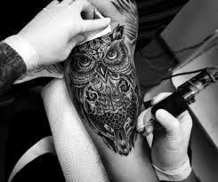 collection of 25 black and white owl and tattoos on thigh
