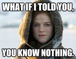 You Know Nothing Meme - what if i told you you know nothing morpheus ygritte quickmeme