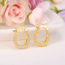 earrings saudi gold online shop bangrui cheap two tones golden earrings dubai